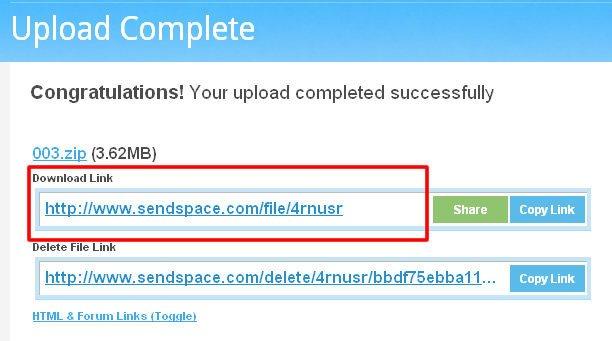 Uploads de Arquivo no Sendspace