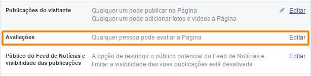 Avaliação de pagina no Facebook desativada, como ativar