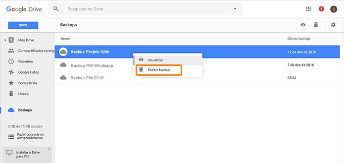 Aprenda a gerenciar backup no Google Drive