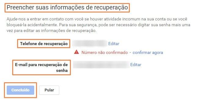 Como fazer verificação de conta do google