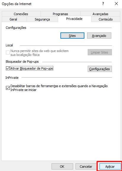 Alterando permissão de Pop-up no navegador Internet Explorer