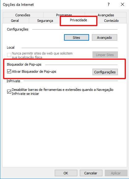 Configuração de Pop-up no navegador Internet Explorer