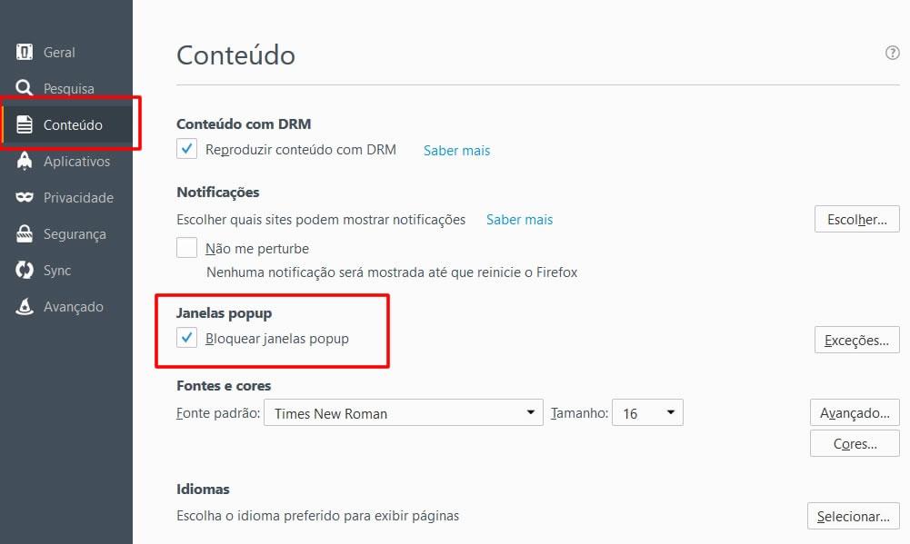 Bloquear e Desbloquear Pop-up no Navegador Mozilla Firefox