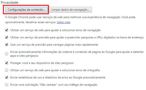 Configuração de Pop-up no Navegador Google Chrome