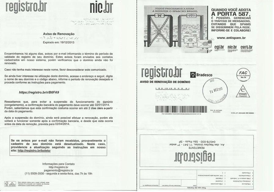 Boleto Oficial de Pagamento do Registro BR