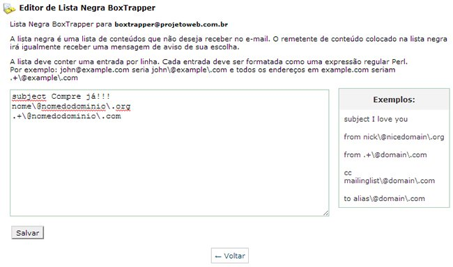 Deletar Spam - Box Trapper