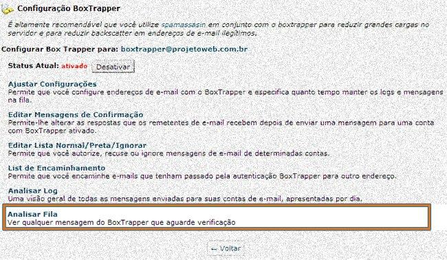 Boxtrapper como Analisar Fila de E-mails
