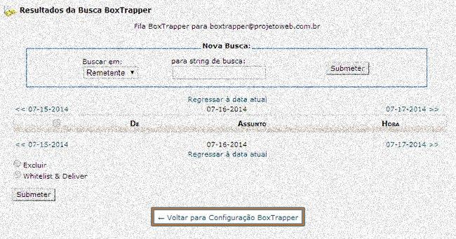 Correio de E-mails Boxtrapper