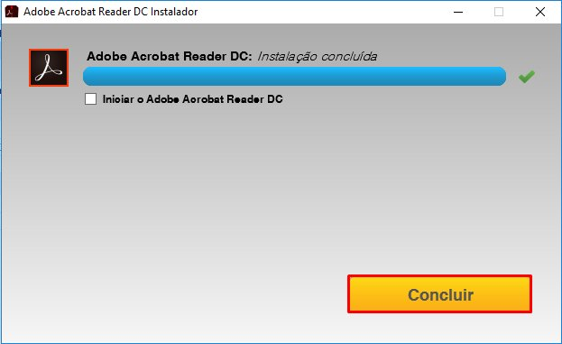 Clique em Concluir - Adobe Reader