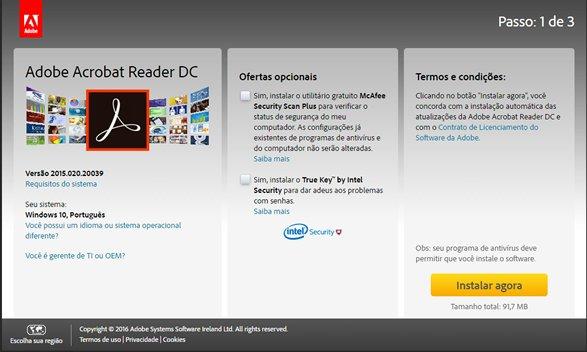 Selecione para Baixar - Adobe Reader