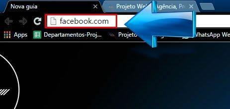 Abra seu navegador e pesquise por Facebook