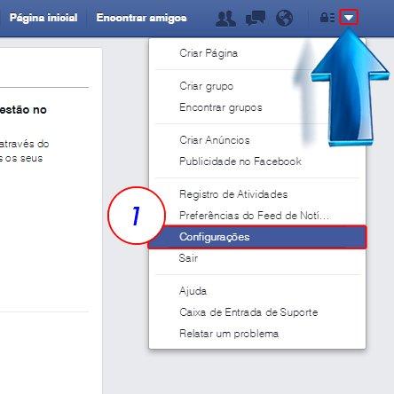 Após entrar em sua conta selecione a seta para baixo ao lado do botão  Atalhos de Privacidade , após isso selecione a opção  Configurações