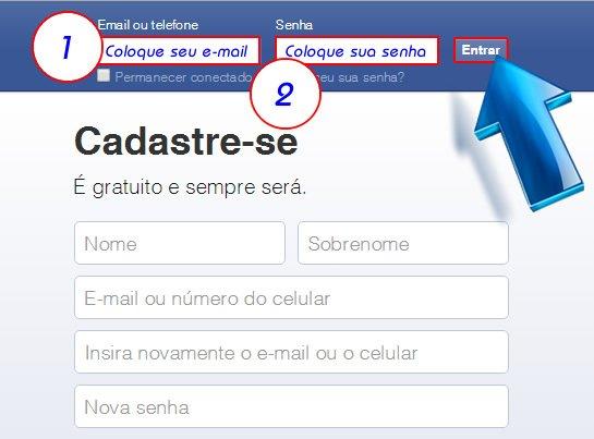 Com o Facebook aberto, entre na sua conta com o seu e-mail e sua senha