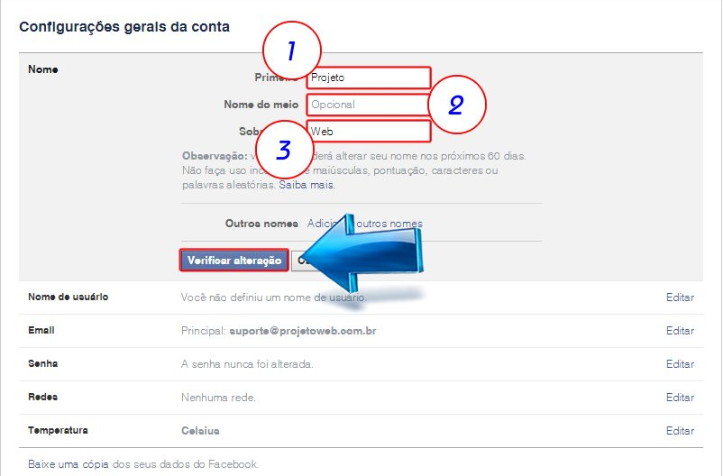 Irá abrir a página de Configuraões gerais da conta, após isso selecione