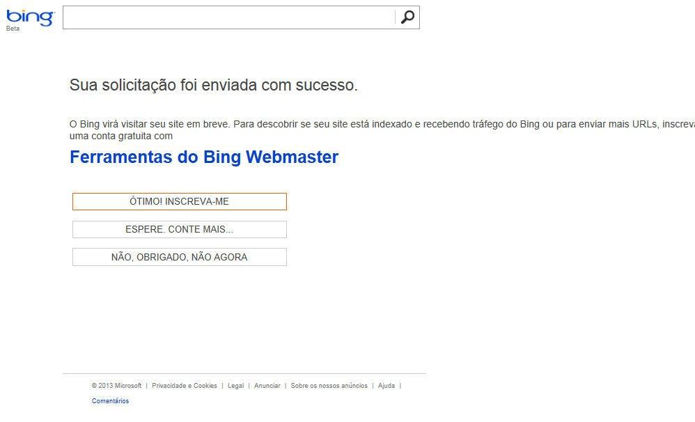 Cadastrar seu Site no Bing