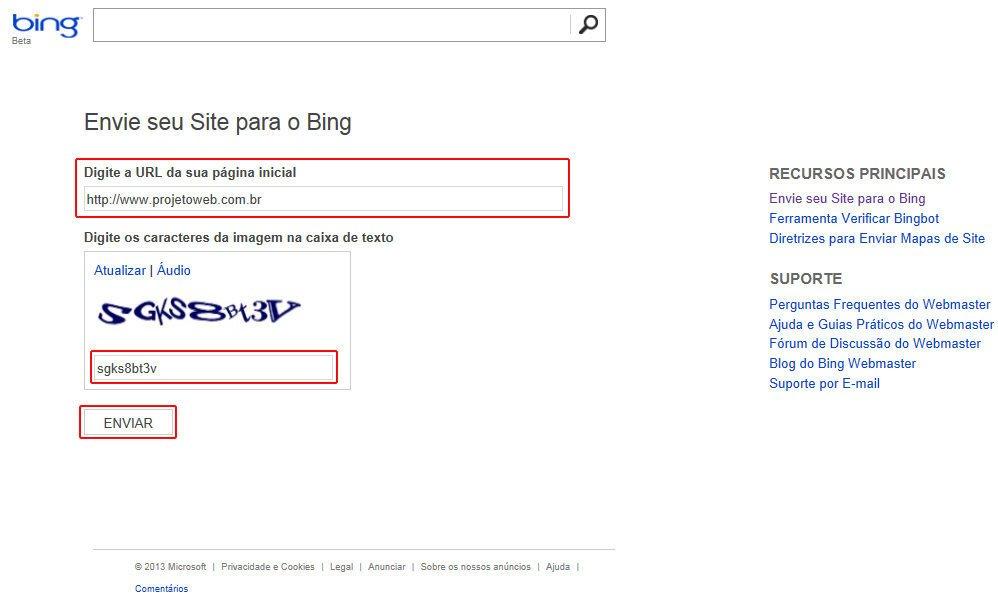 Como Cadastrar Site no Bing