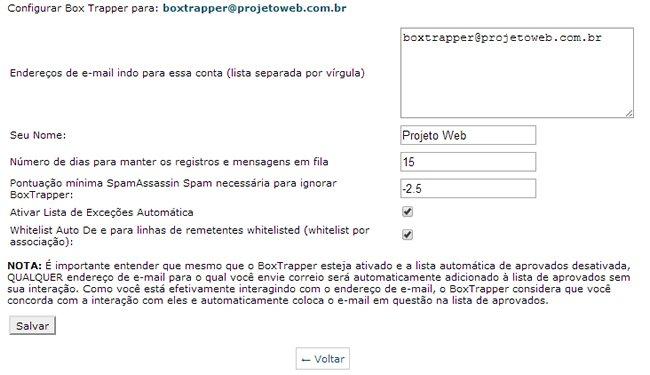 Configurar Anti Spam - BoxTrapper