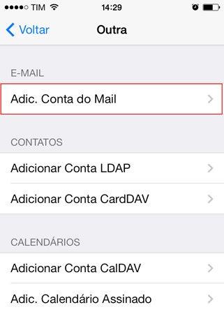 Configuração de e-mail do Iphone