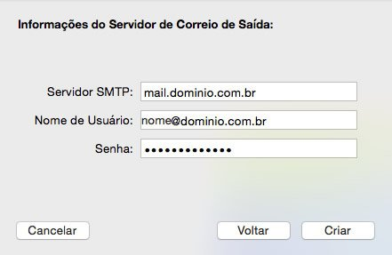 Mail configurações Mac OS X