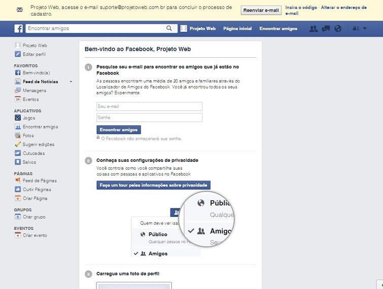 Pronto, sua conta do Facebook esta criada