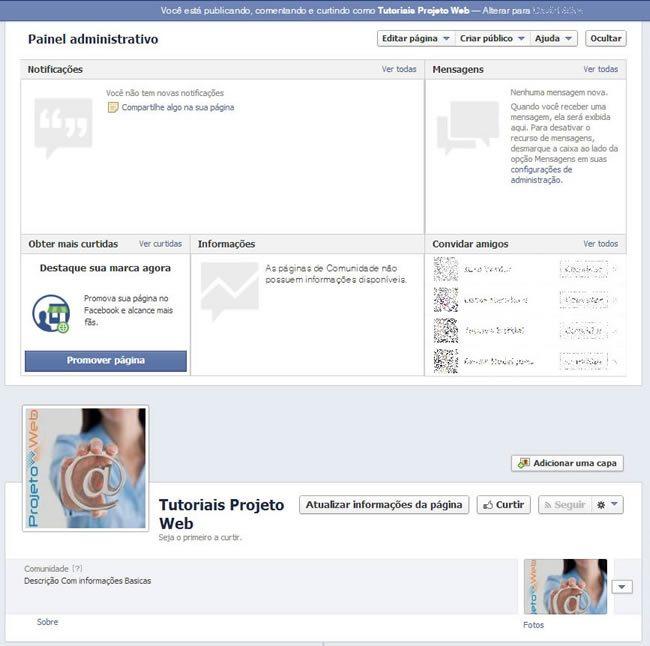 Criação de Página no facebook