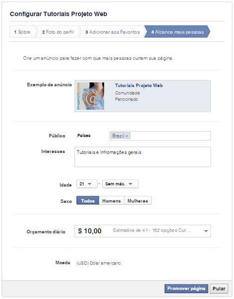 Crie sua Página no facebook