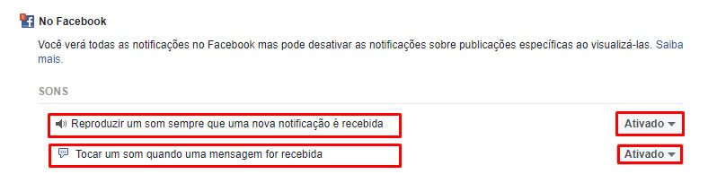 Desativar notificações do Facebook