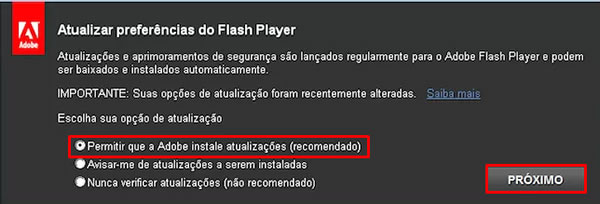 Instalação do Flash Player