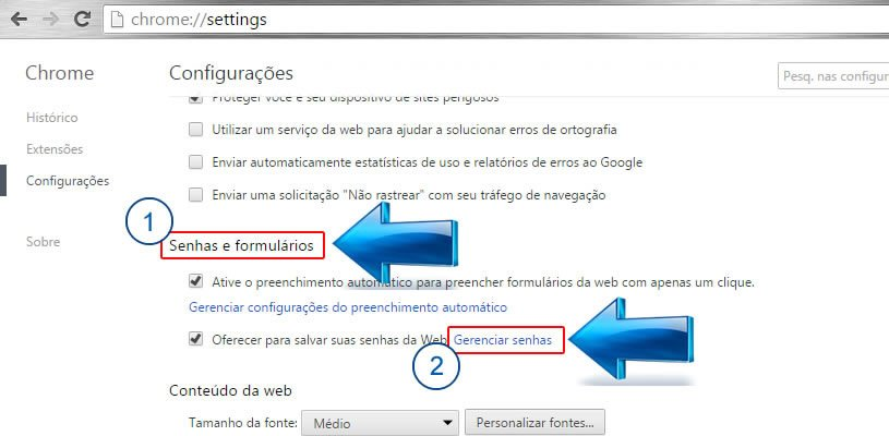 Como Ver as Senhas Salvas no Navegador Google Chrome