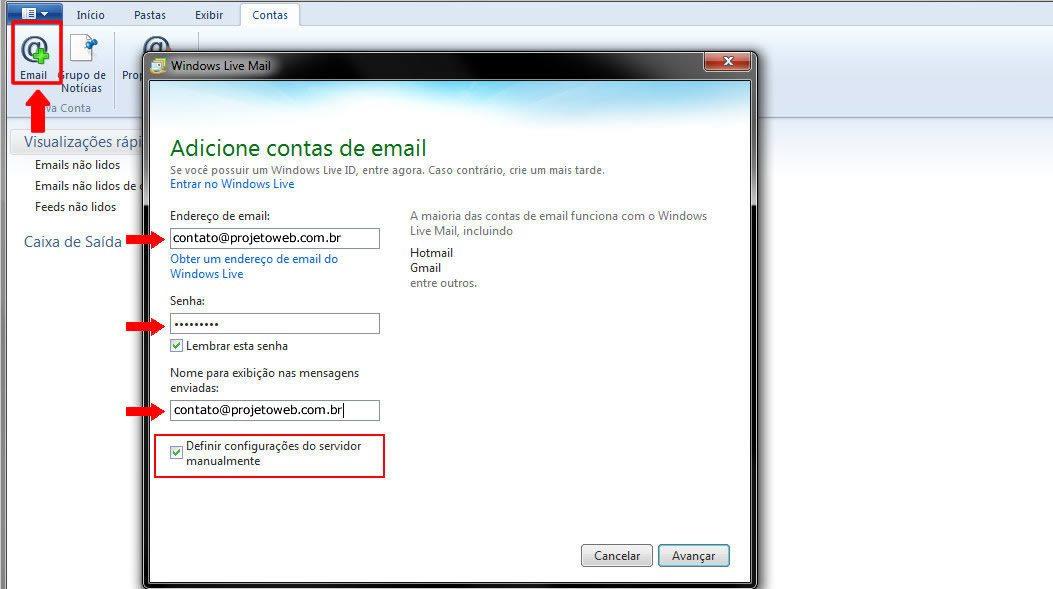 Conta de Email no Windows Live Mail