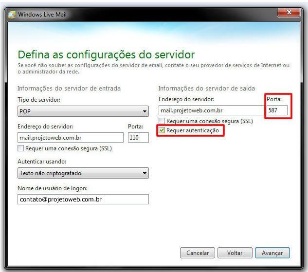Conta de Emails no Windows Live Mail