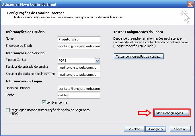 Conta Email Microsoft Outlook 2010