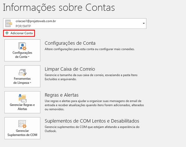 Configurar Conta Email Outlook 2016